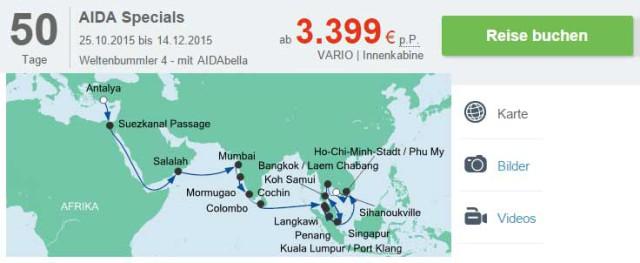 Kreuzfahrt Weltreise: 50 Tage von der Türkei bis nach Thailand nur ...